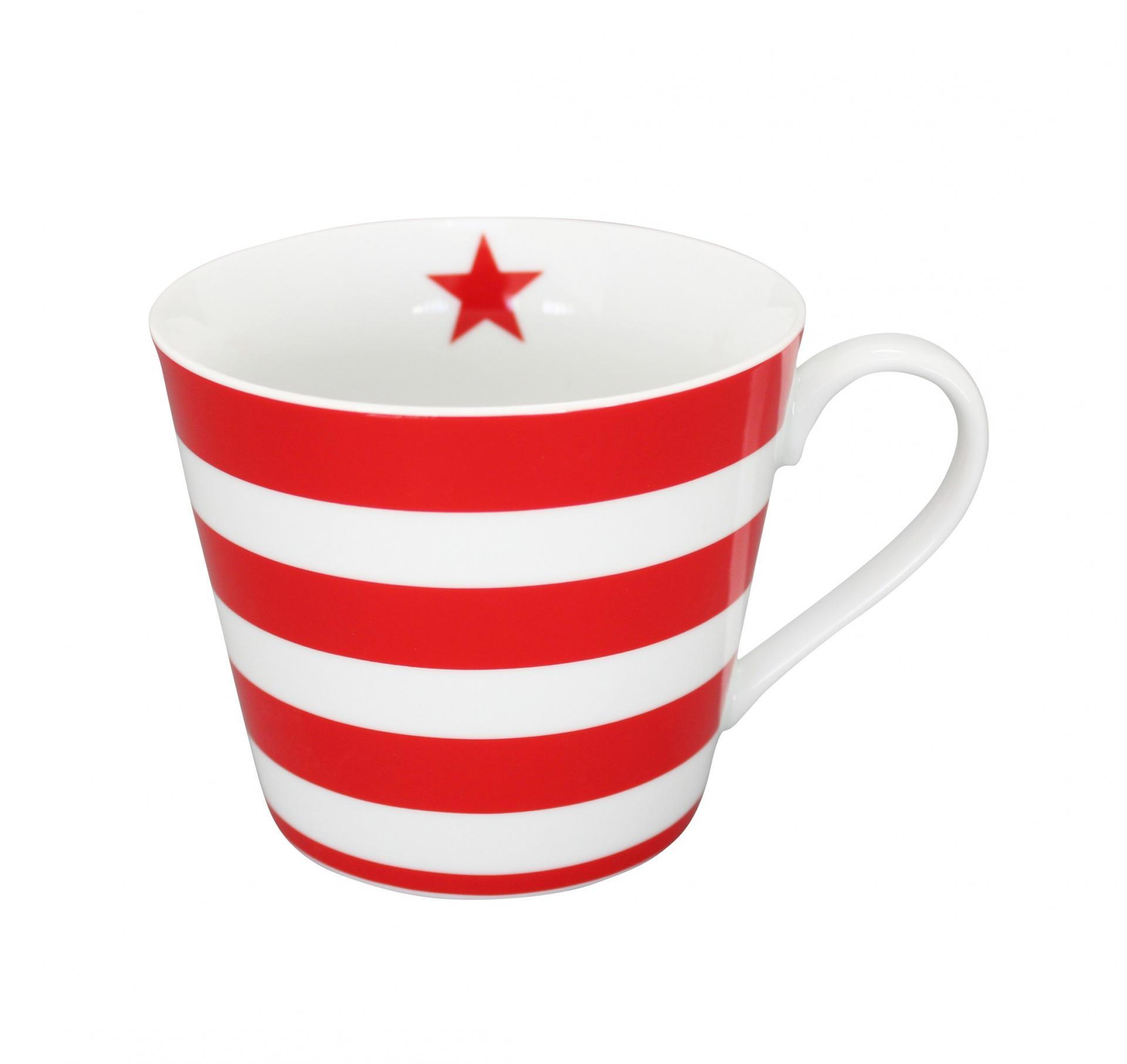 Krasilnikoff Hrneček Stripes red, červená barva, porcelán