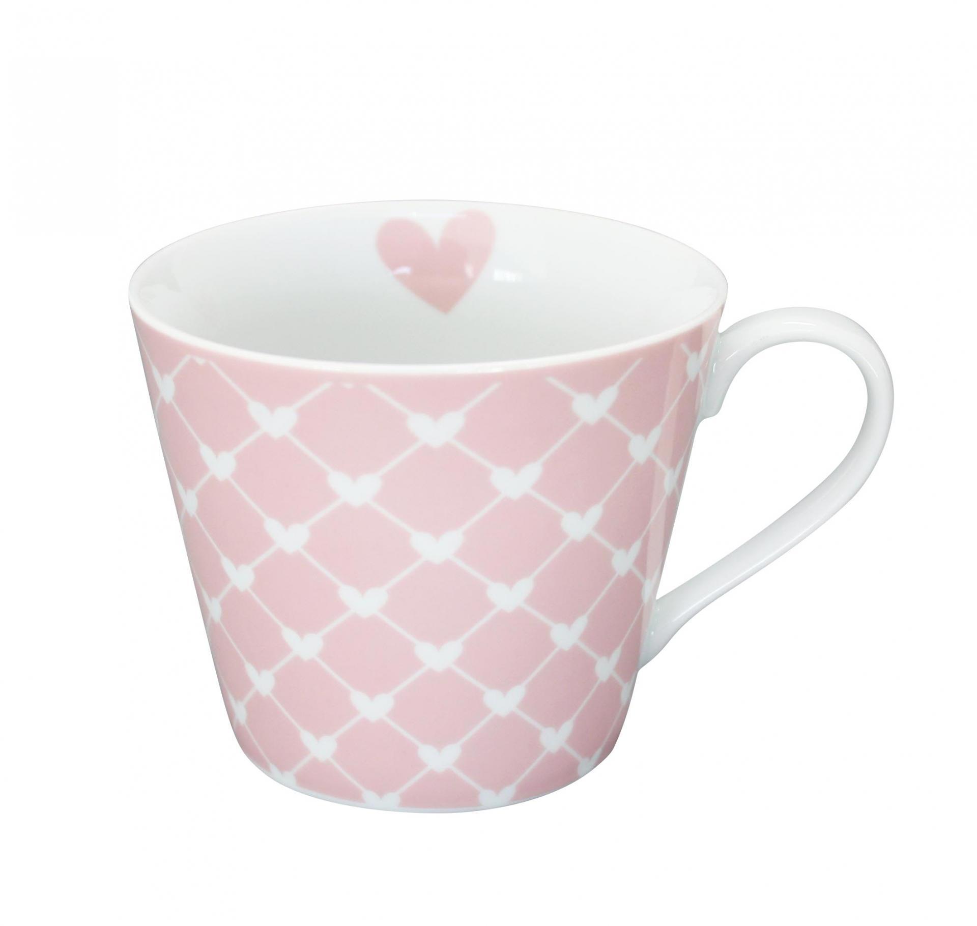 Krasilnikoff Hrneček Hearts pink diagonal