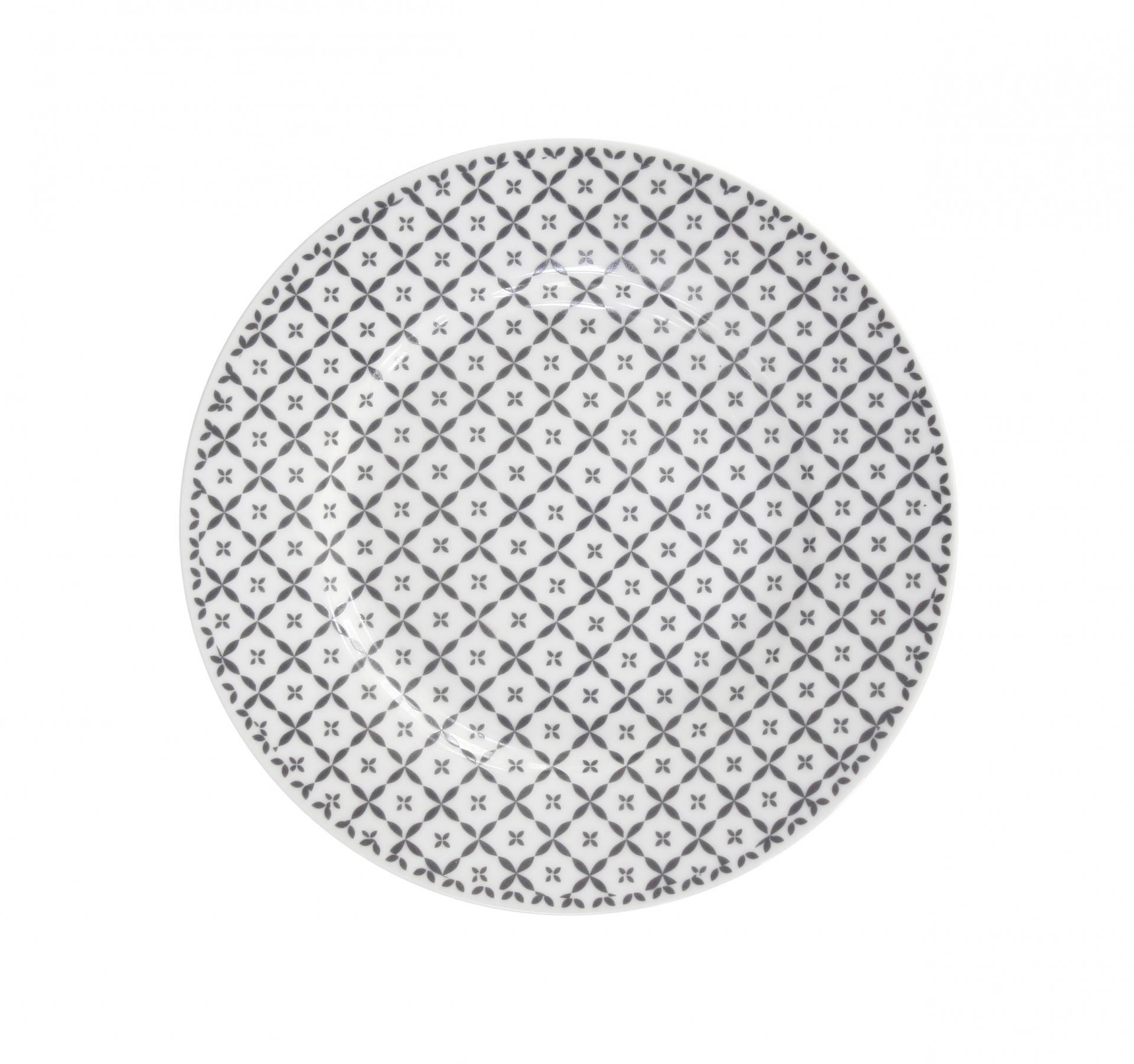 Krasilnikoff Dezertní talíř Charcoal diagonal, šedá barva, porcelán
