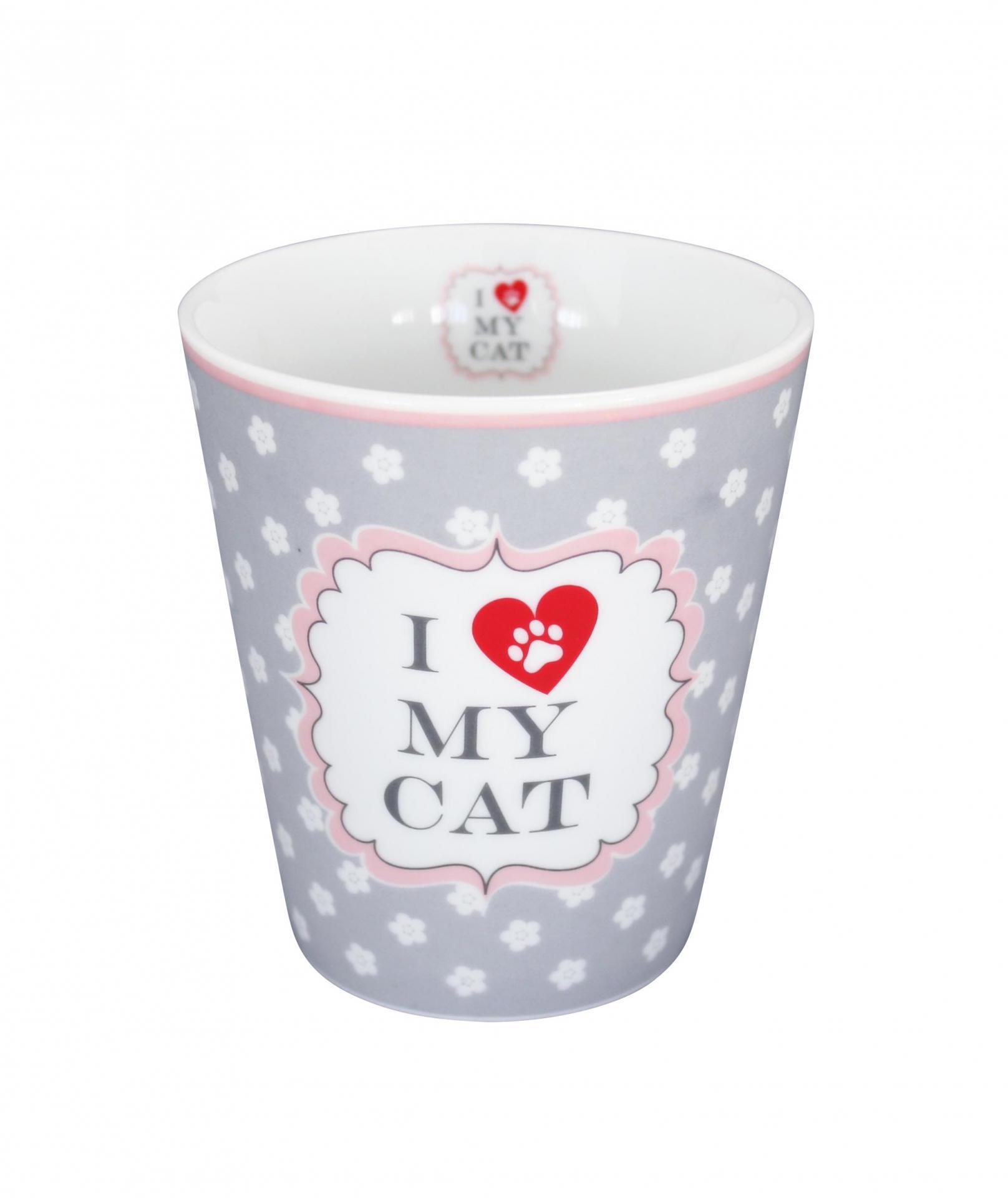 Krasilnikoff Latte hrneček My cat, šedá barva, porcelán
