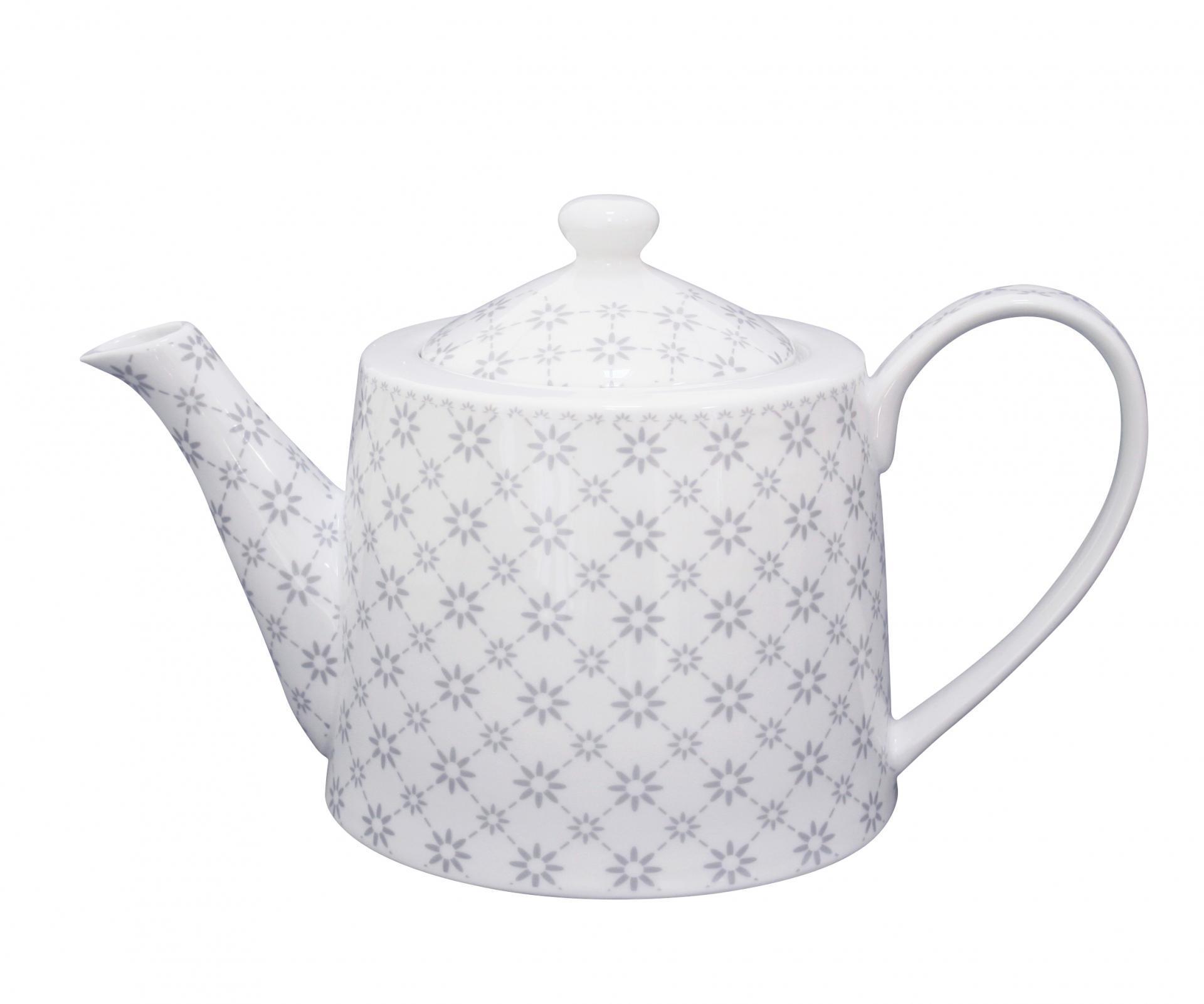Krasilnikoff Čajová konvice Flowers diagonal, šedá barva, bílá barva, porcelán