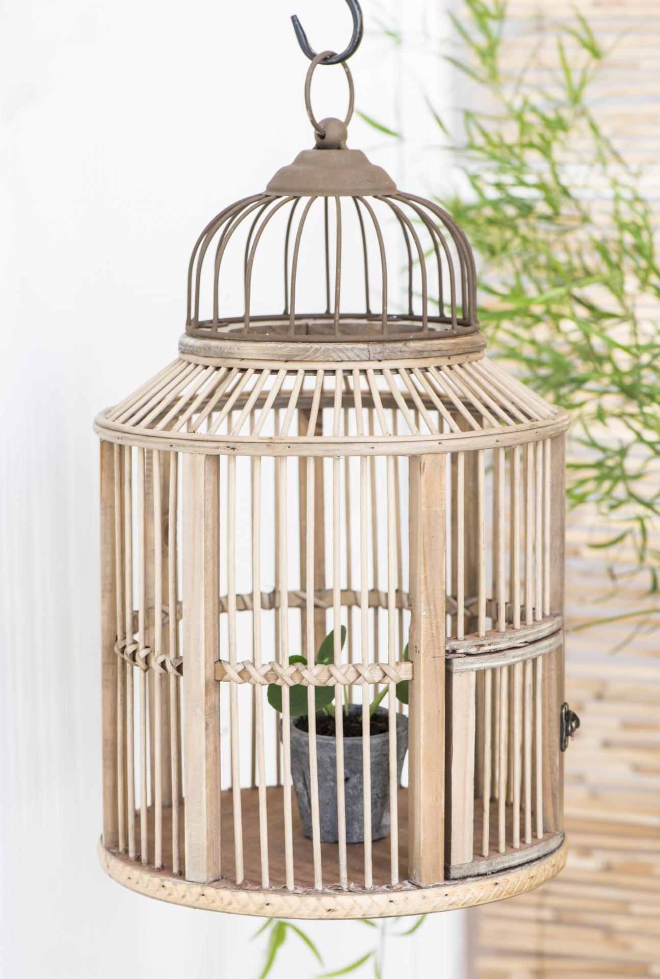 IB LAURSEN Dekorativní ptačí klec ze dřeva, přírodní barva, dřevo