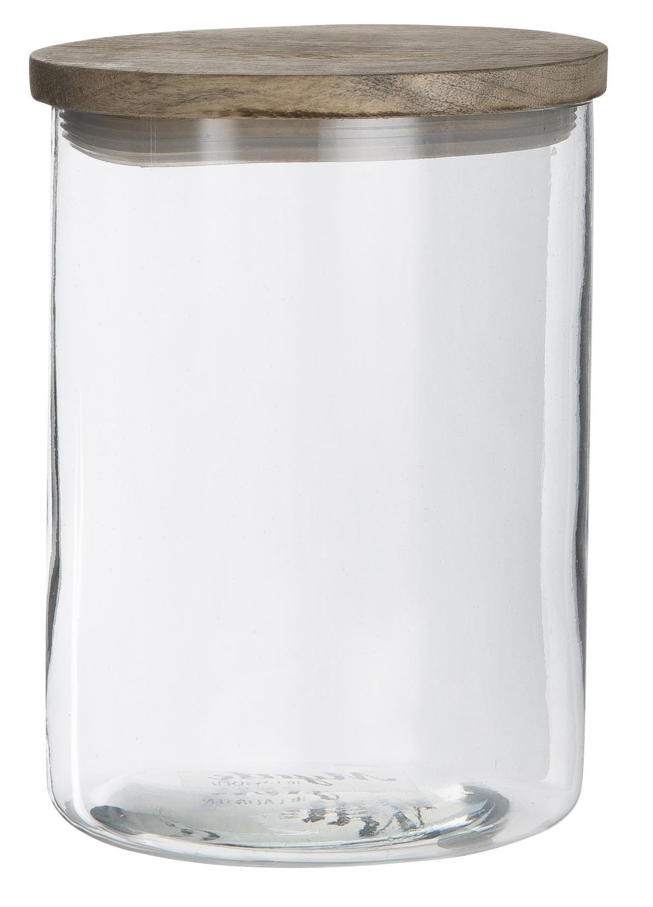 IB LAURSEN Skleněná dóza Mynte s dřevěným víčkem 800 ml, čirá barva, přírodní barva, sklo, dřevo