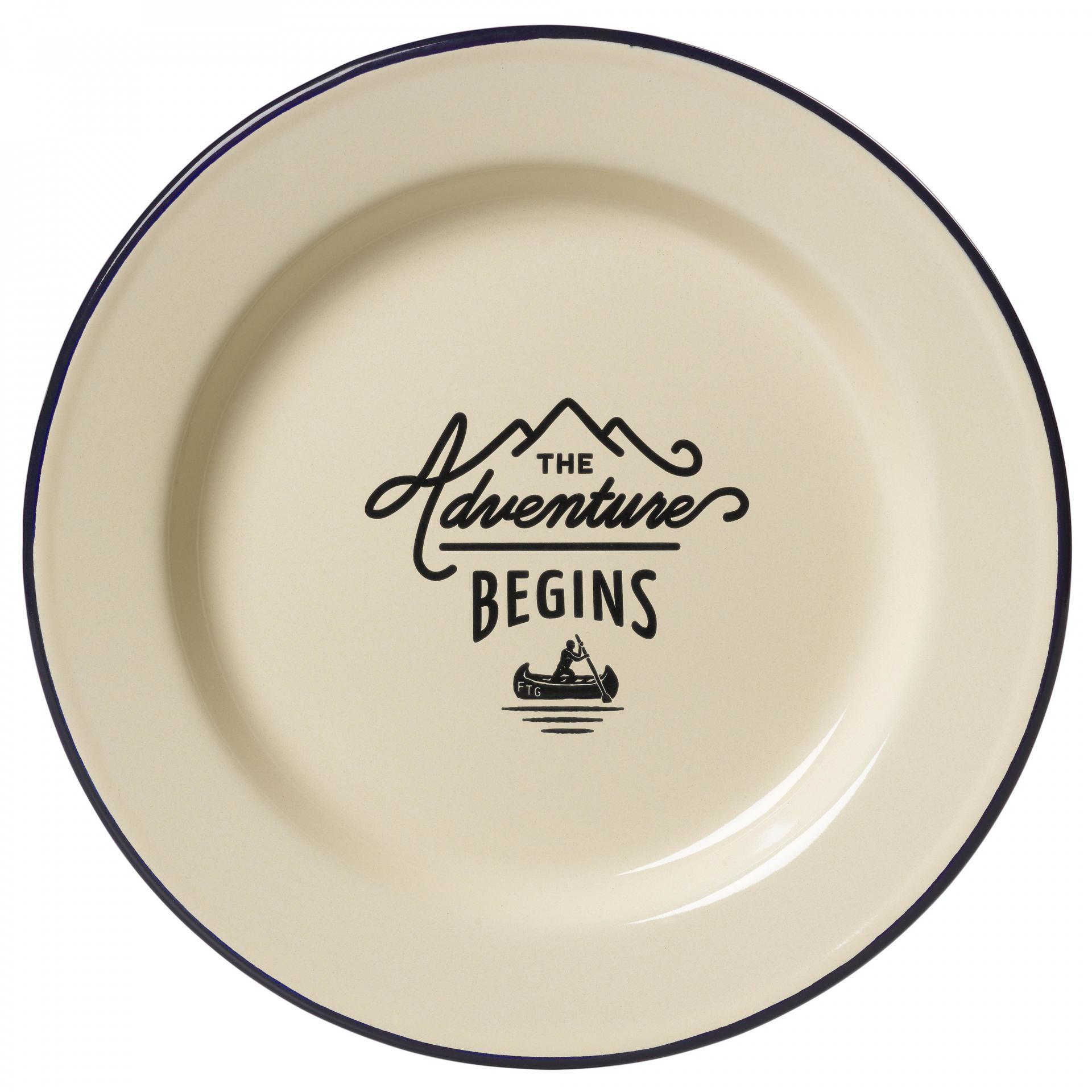 GENTLEMEN'S HARDWARE Smaltovaný talíř Adventure Cream, krémová barva, smalt