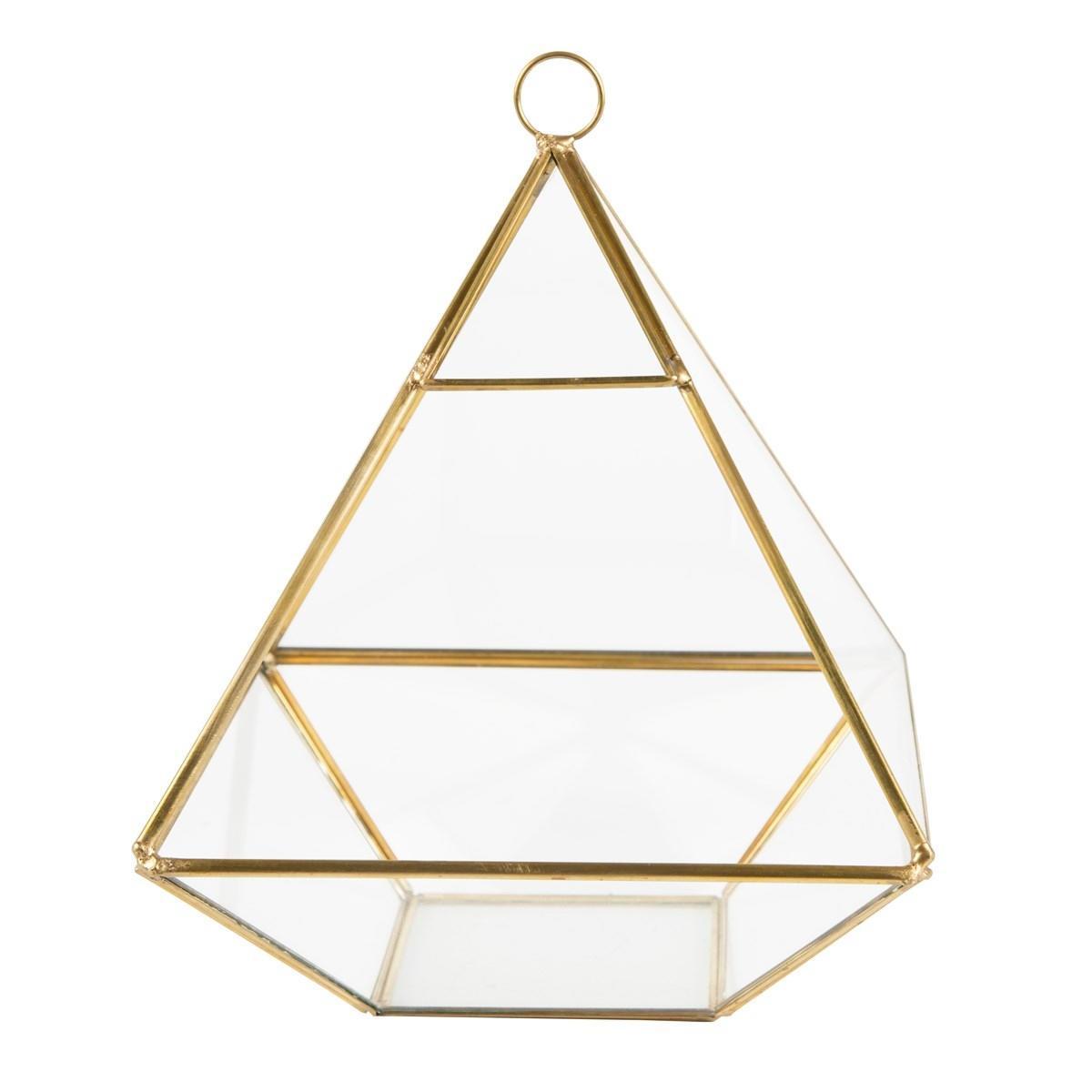 Sass & Belle Skleněný box Pyramid Brass