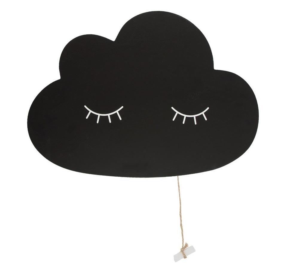 sass & belle Závěsná popisovací tabulka Cloud, černá barva, dřevotříska