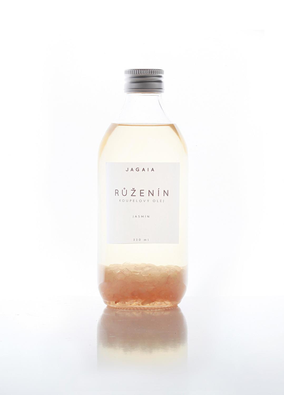 JAGAIA Vysokovibrační tělový olej - Růženín, bílá barva, sklo, kov