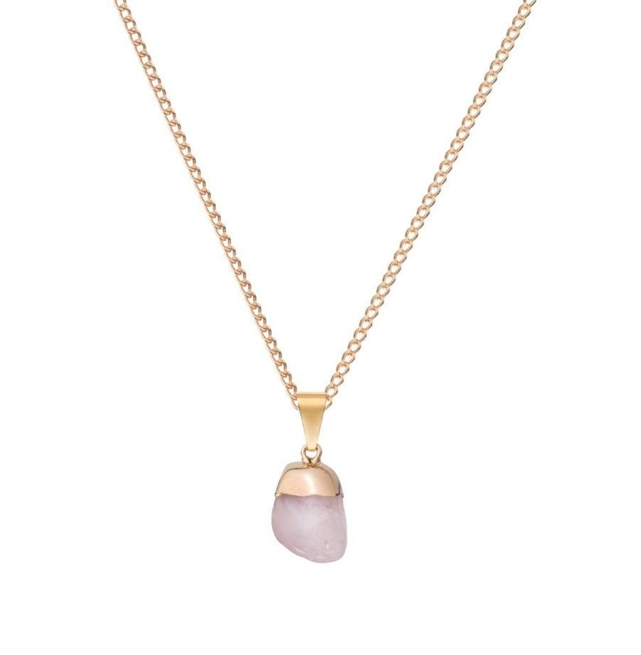 DECADORN Řetízek s přívěskem Mini Tumbled Rose Quartz/Gold, růžová barva, zlatá barva, kov, kámen