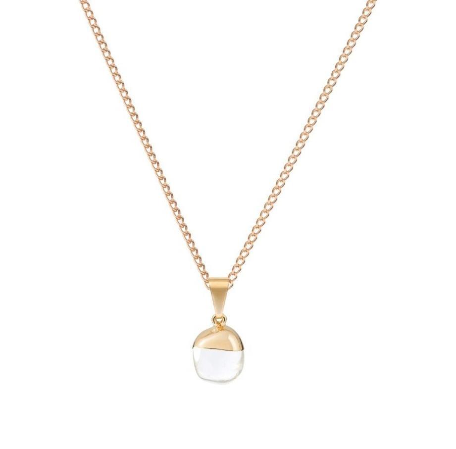 DECADORN Řetízek s přívěskem Mini Tumbled Clear Quartz/Gold, zlatá barva, čirá barva, kov, kámen