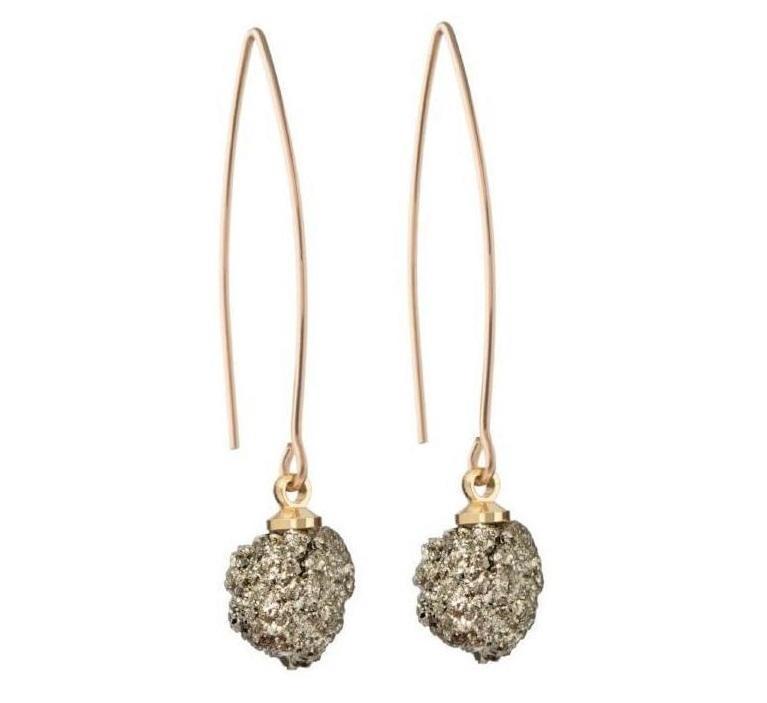 DECADORN Visací náušnice Cluster Pyrite/Gold, šedá barva, zlatá barva, stříbrná barva, kov, kámen