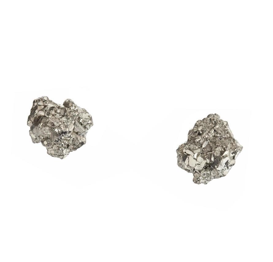 DECADORN Náušnice Cluster Pyrite/Gold, šedá barva, zlatá barva, stříbrná barva, kov, kámen