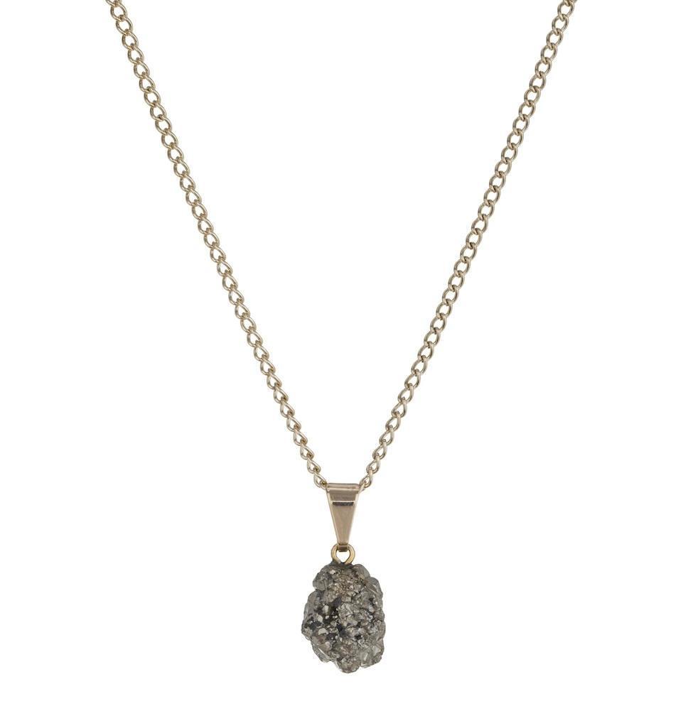 DECADORN Řetízek s přívěskem Cluster Pyrite/Gold, šedá barva, zlatá barva, stříbrná barva, kov, kámen