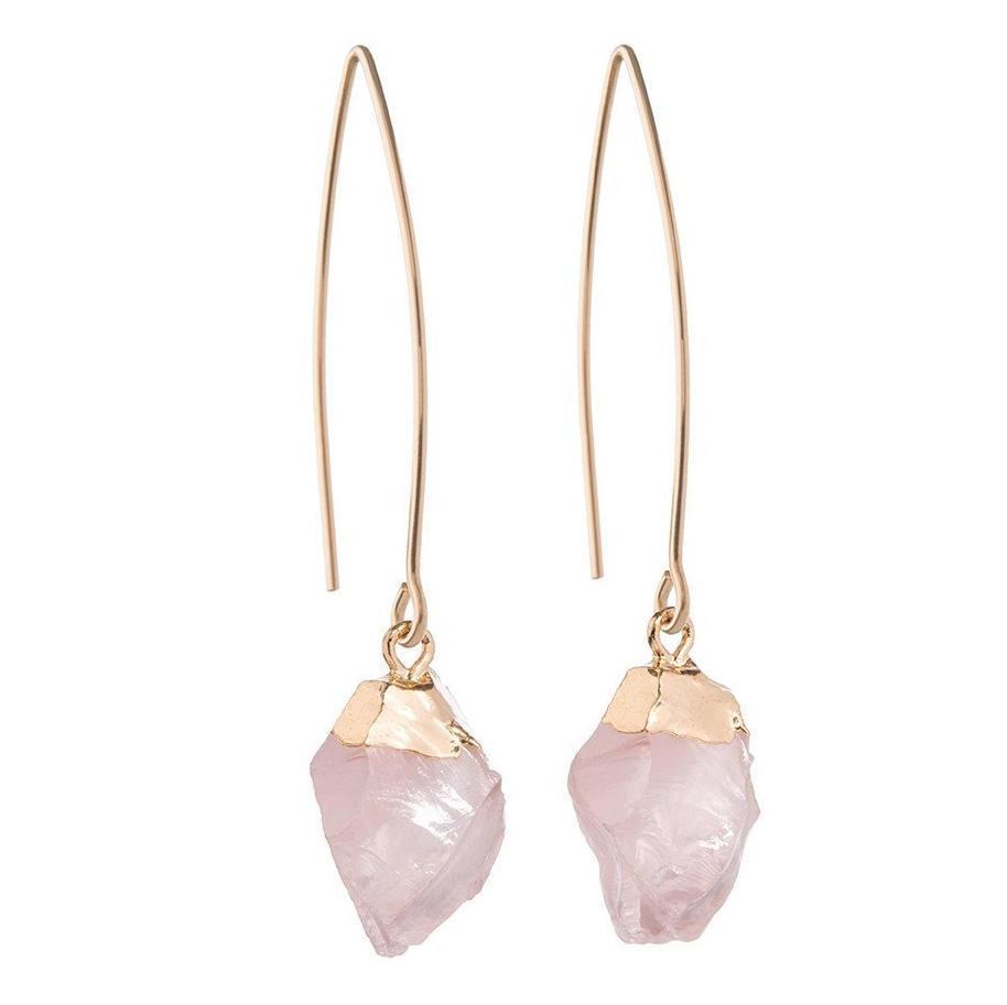 DECADORN Visací náušnice Mini Rose Quartz/Gold, růžová barva, zlatá barva, kov, kámen