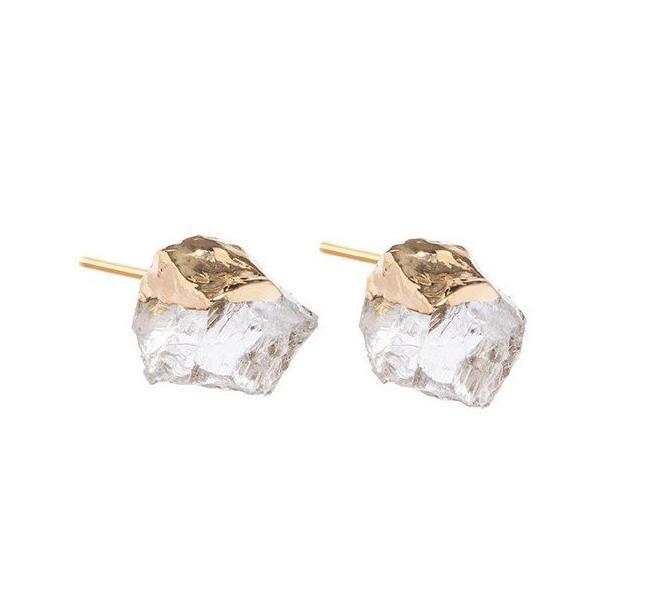 DECADORN Náušnice Mini Clear Quartz/Gold, zlatá barva, čirá barva, kov, kámen