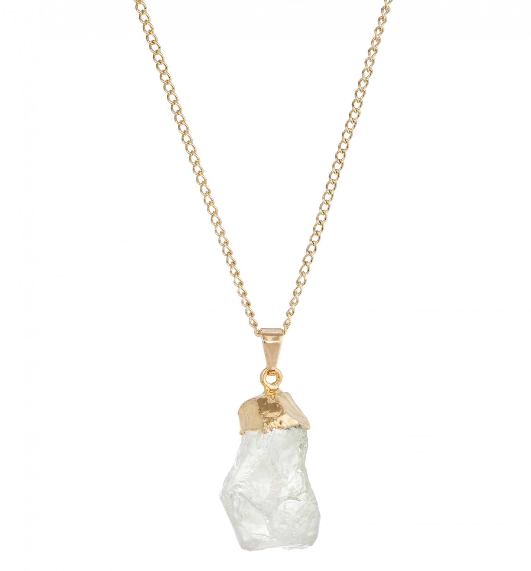 DECADORN Řetízek s přívěskem Clear Quartz/Gold, zlatá barva, čirá barva, kov, kámen