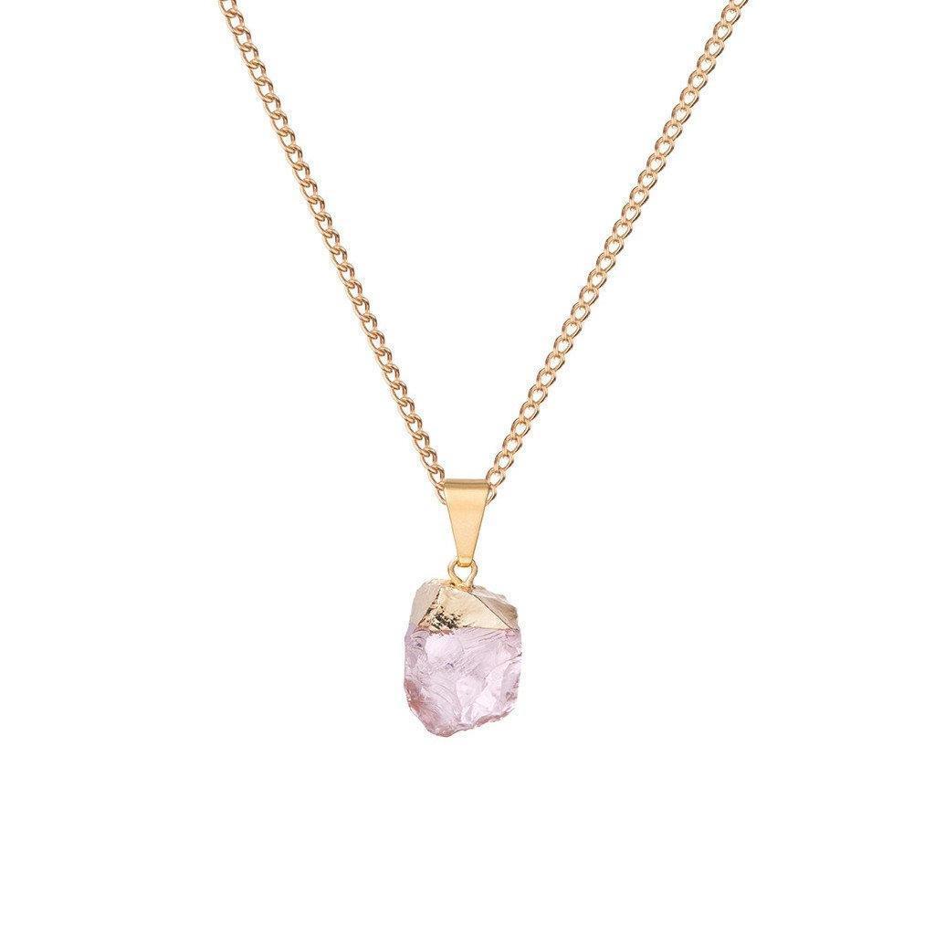 DECADORN Řetízek s přívěskem Mini Gemstone Rose Quartz, růžová barva, zlatá barva