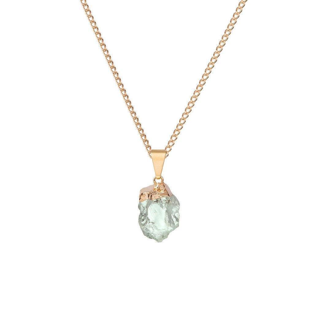 DECADORN Řetízek s přívěskem Mini Green Quartz/Gold, zelená barva, zlatá barva, kov, kámen