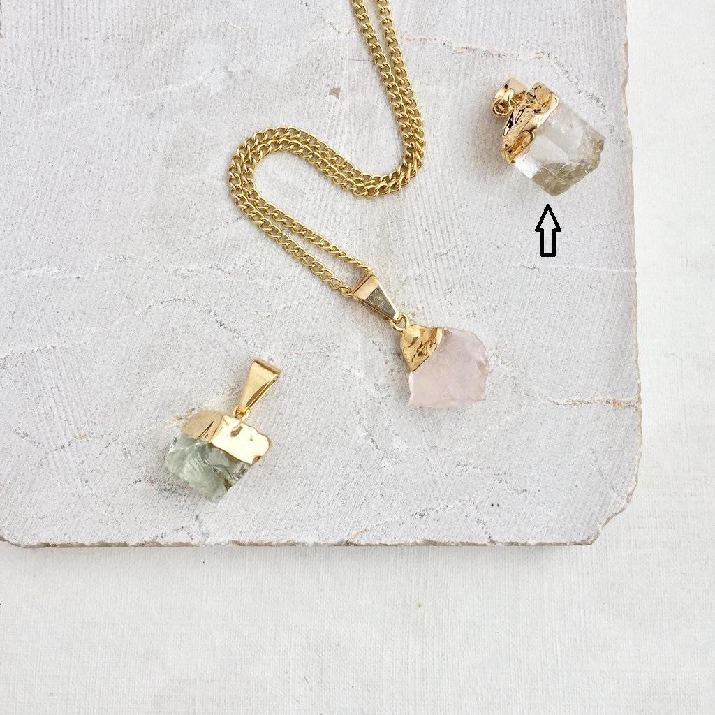 DECADORN Řetízek s přívěskem Mini Clear Quartz/Gold, čirá barva, kov, kámen