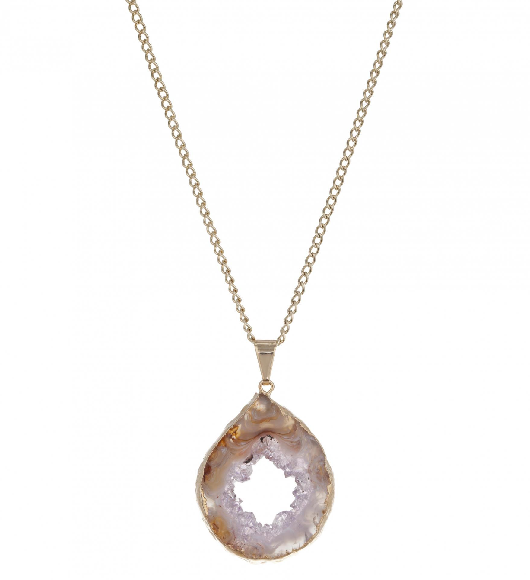 DECADORN Řetízek s přívěskem Geode Halo Natural/Gold, oranžová barva, béžová barva, zlatá barva, kov, kámen