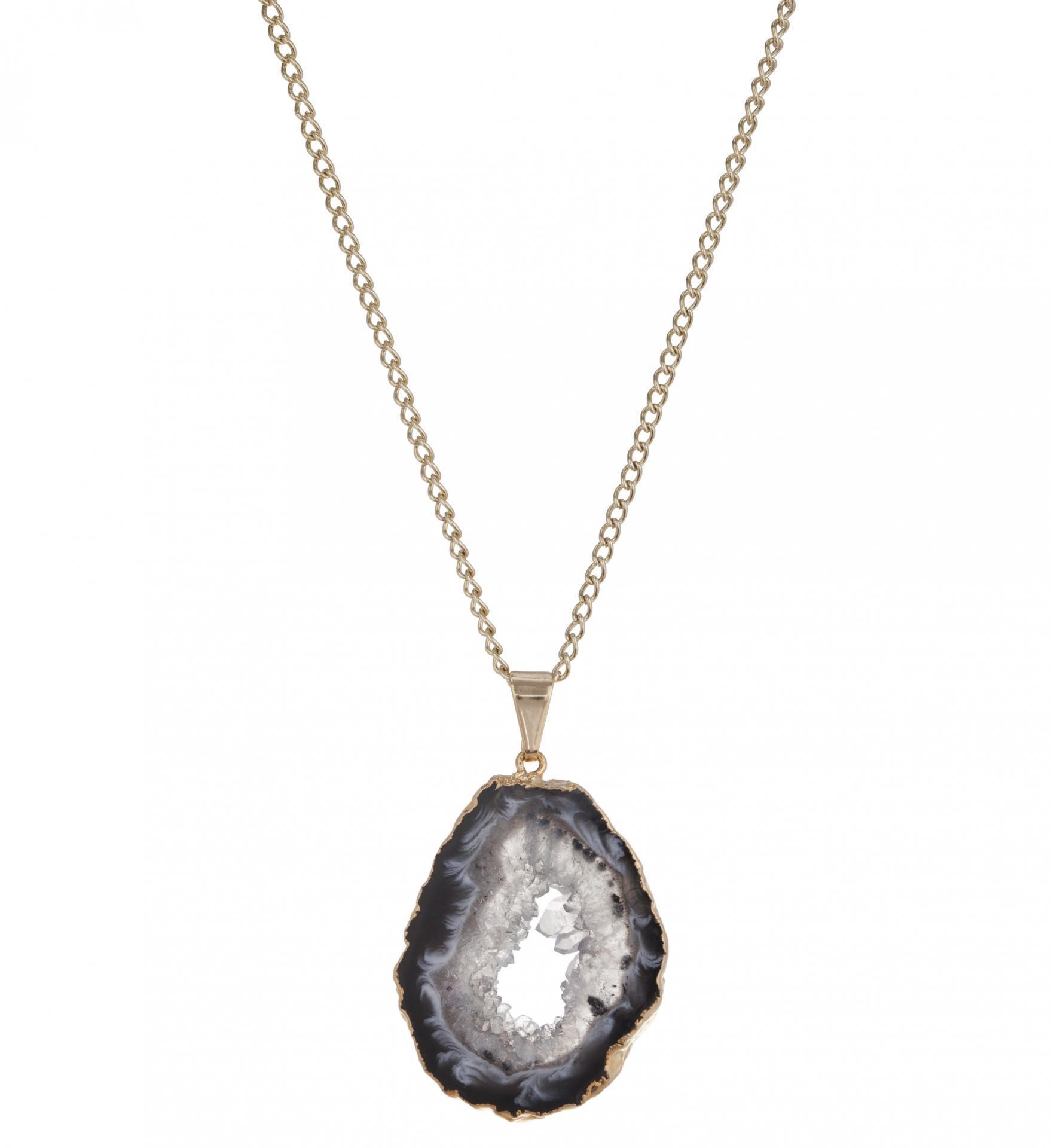 DECADORN Řetízek s přívěskem Geode Halo Grey/Gold, šedá barva, zlatá barva, kov, kámen