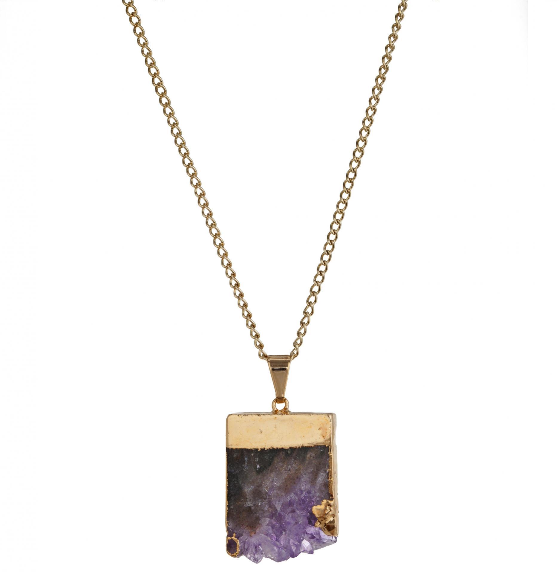 DECADORN Řetízek s přívěskem Amethyst Layered Slice/Gold, fialová barva, multi barva, zlatá barva, kov, kámen