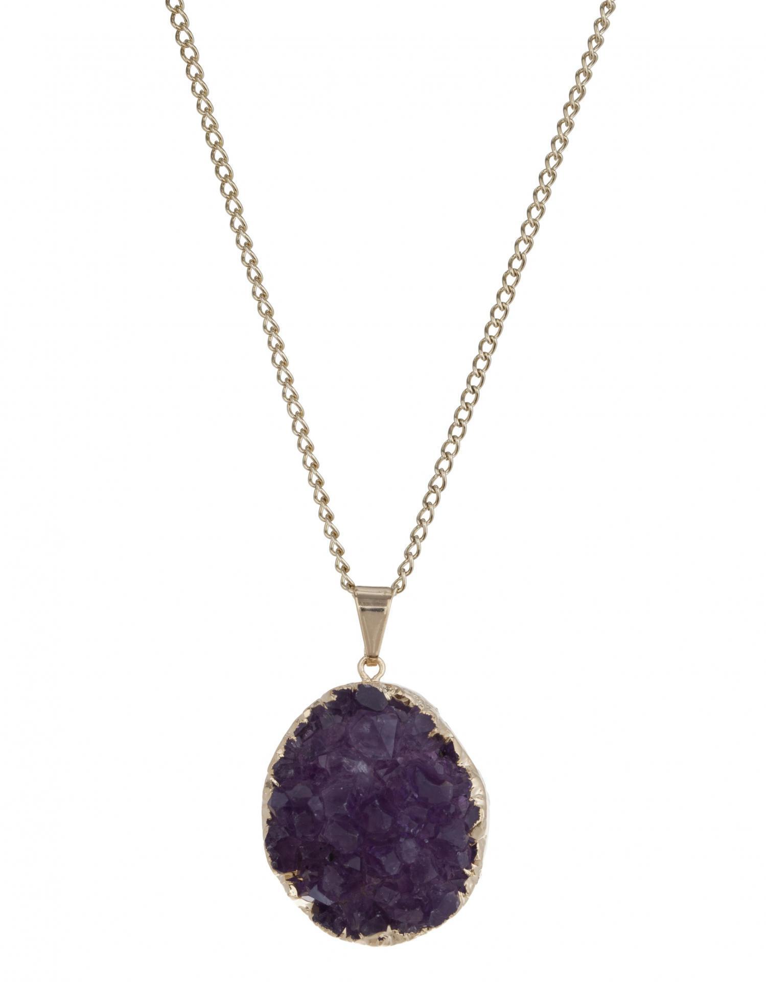 DECADORN Řetízek s přívěskem Rocky Amethyst/Gold, fialová barva, zlatá barva, kov, kámen