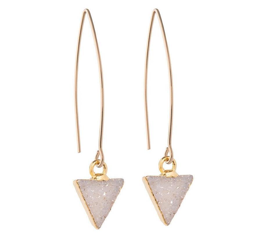 DECADORN Visací náušnice Triangle Light grey/Gold, šedá barva, zlatá barva, kov, kámen