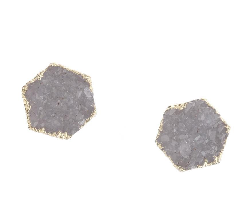 DECADORN Náušnice Hexagon Light grey/Gold, šedá barva, zlatá barva, kov, kámen