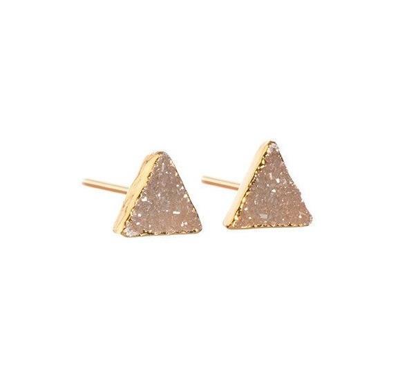 DECADORN Náušnice Mini Triangle Natural/Gold, oranžová barva, béžová barva, zlatá barva, kov, kámen