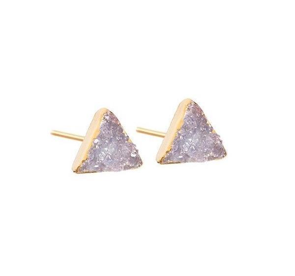 DECADORN Náušnice Mini Triangle Light grey/Gold, šedá barva, zlatá barva, kov, kámen