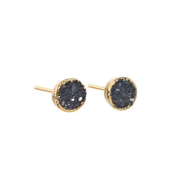DECADORN Náušnice Mini Circle Dark grey/Gold, šedá barva, černá barva, zlatá barva, kov, kámen
