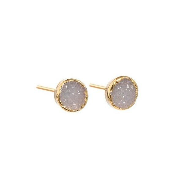 DECADORN Náušnice Mini Circle Light grey, šedá barva, zlatá barva, kov, kámen