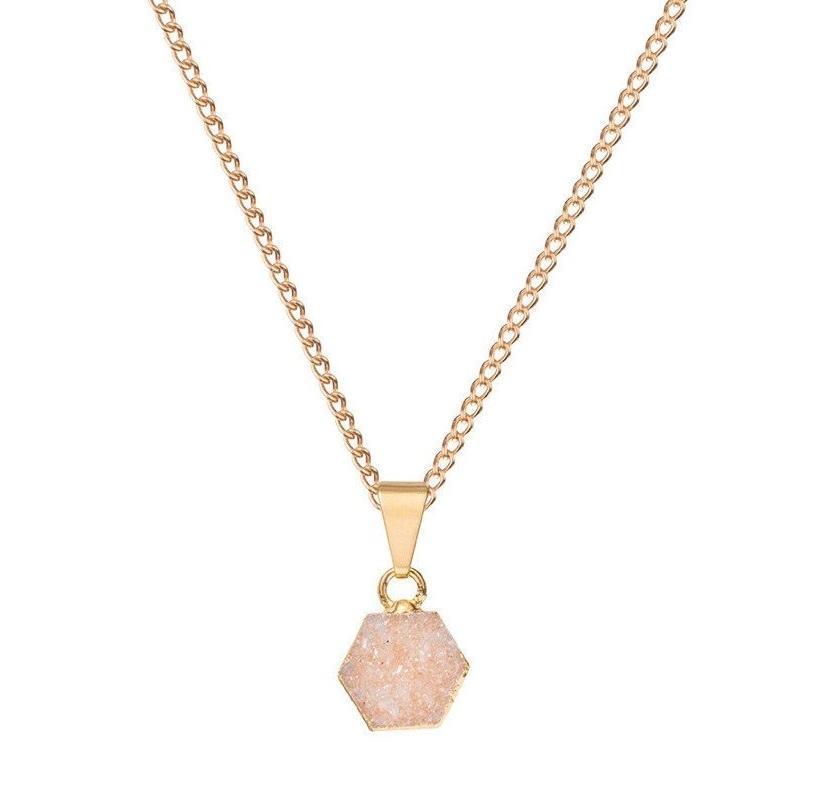 DECADORN Řetízek s přívěskem Hexagon Natural/Gold, oranžová barva, béžová barva, zlatá barva, přírodní barva, kov, kámen