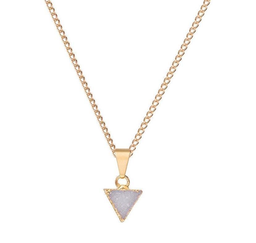 DECADORN Řetízek s přívěskem Mini Triangle Light grey, šedá barva, zlatá barva, kov, kámen