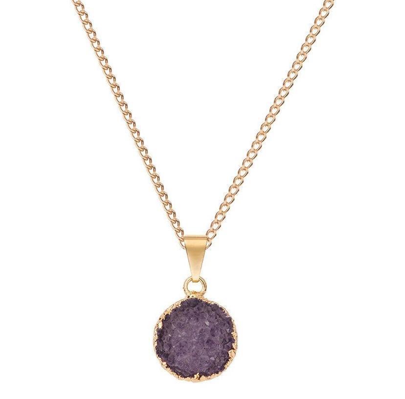 DECADORN Řetízek s přívěskem Small Circle Amethyst/Gold, fialová barva, zlatá barva, kov, kámen