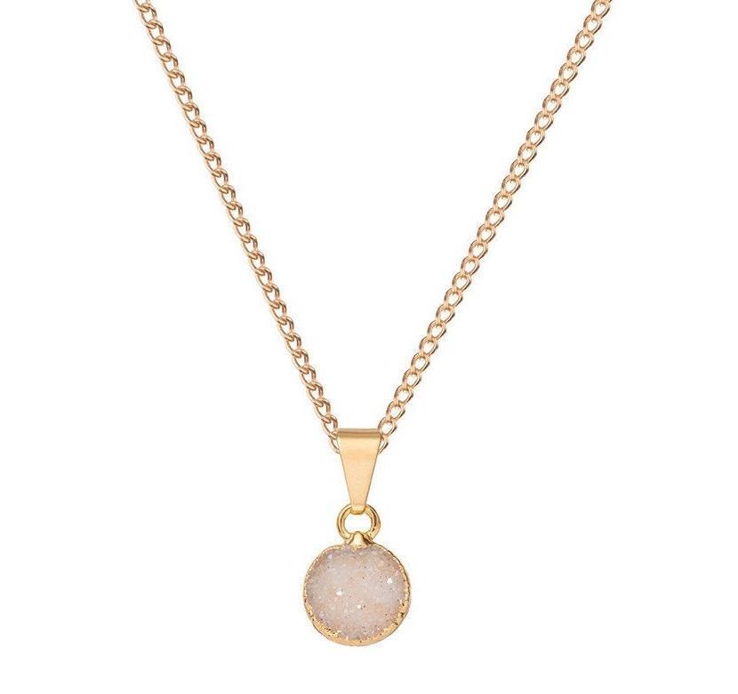 DECADORN Řetízek s přívěskem Mini Circle Light grey/Gold, šedá barva, zlatá barva, kov, kámen