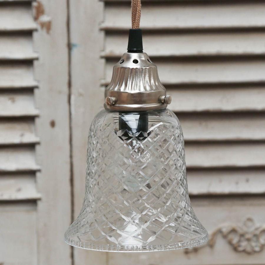 Chic Antique Závěsná lampa Glass Bell, stříbrná barva, čirá barva, sklo, kov