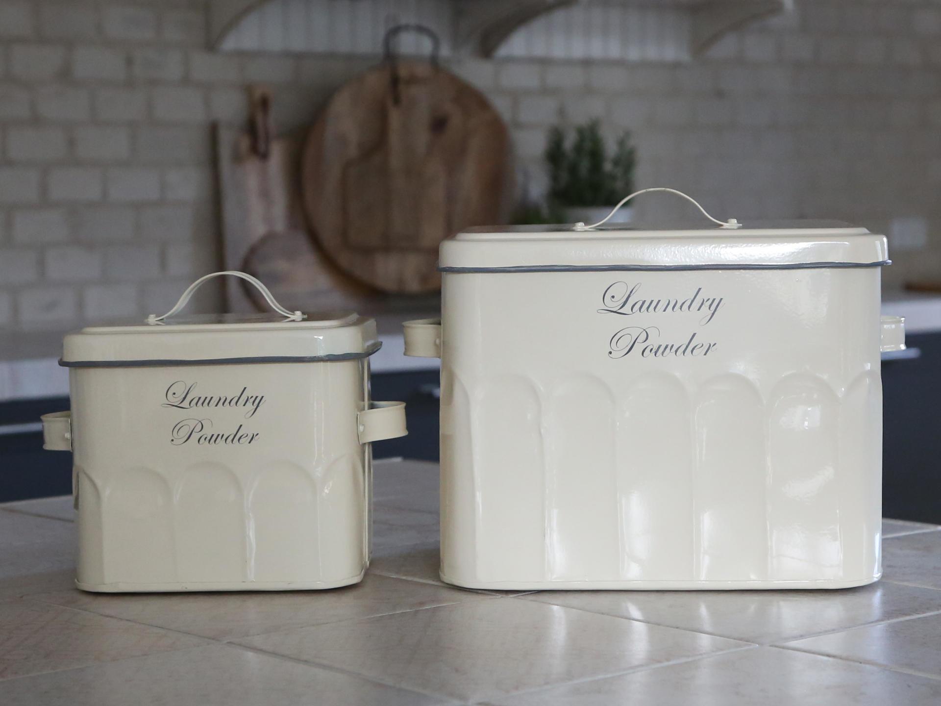 Chic Antique Plechový box na prací prášek Old French Větší, krémová barva, kov