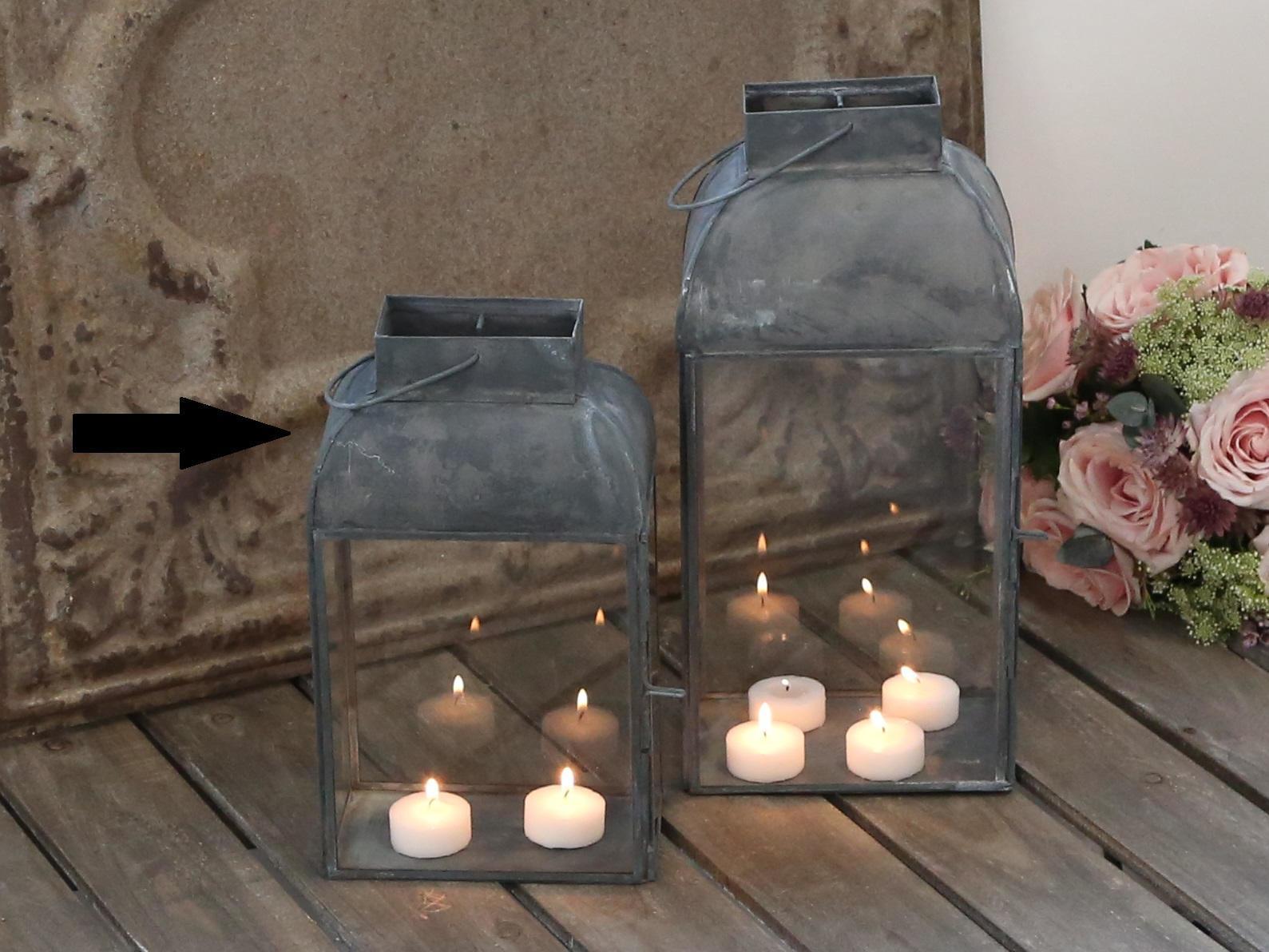 Chic Antique Lucerna Antique, šedá barva, čirá barva, sklo, zinek