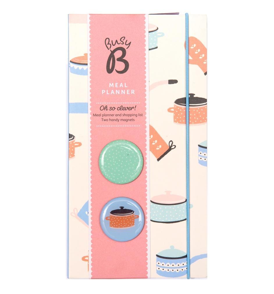 Busy B Plánovač nákupů a týdenního menu + 2 magnety, multi barva, krémová barva, kov, papír