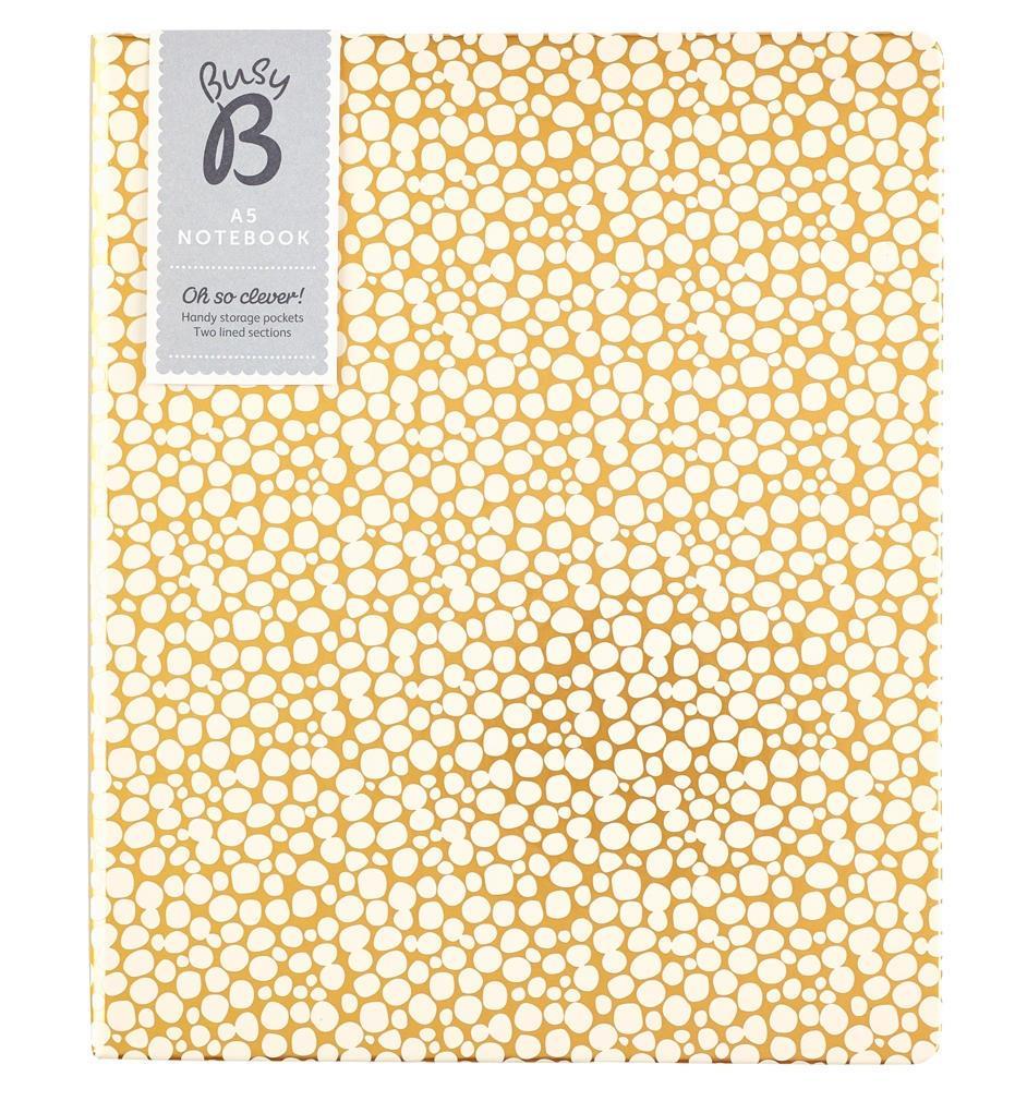 Busy B Notes se dvěma sekcemi Gold A5, béžová barva, zlatá barva, papír