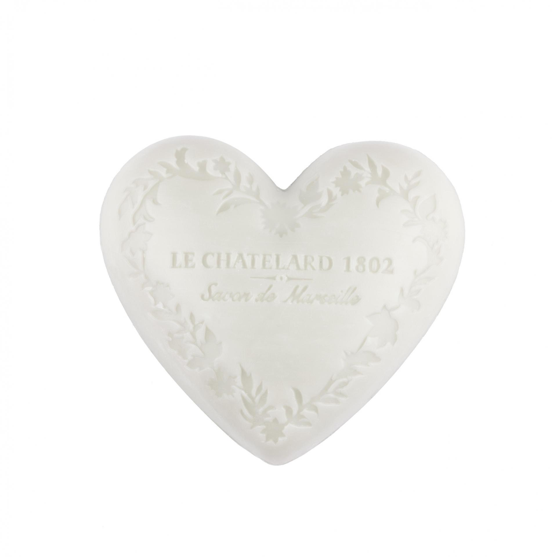 LE CHATELARD Mýdlo Heart - jasmín a mošus 100gr, bílá barva