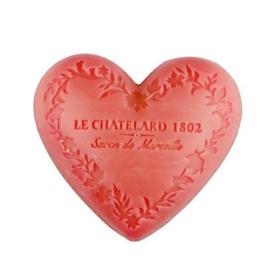 LE CHATELARD Mýdlo Heart - jasmín a růže 100gr, růžová barva