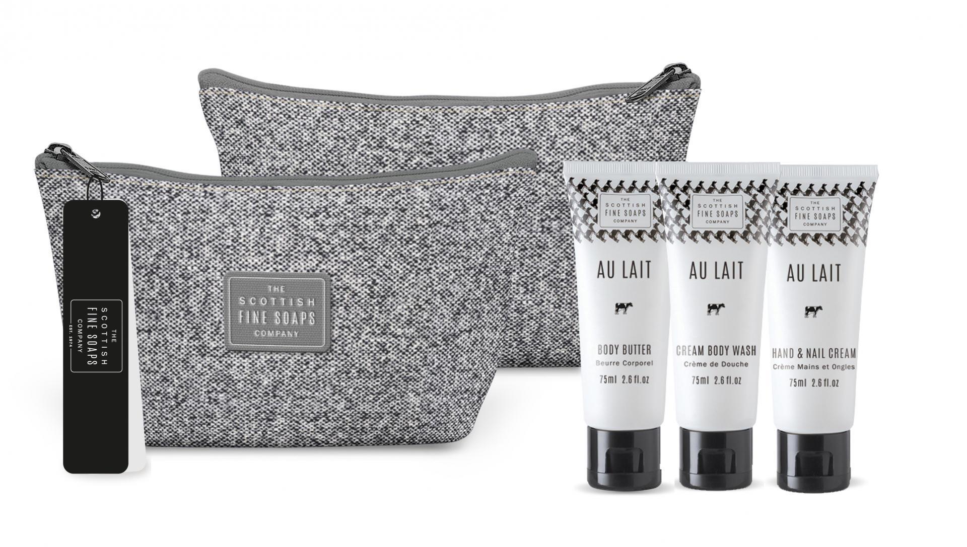 SCOTTISH FINE SOAPS Cestovní taštička s kosmetikou Au Lait, šedá barva, textil - Scottish Fine Soaps Sprchový gel 75 ml + tělové máslo 75 ml + krém na ruce a nehty 75 ml dárková sada