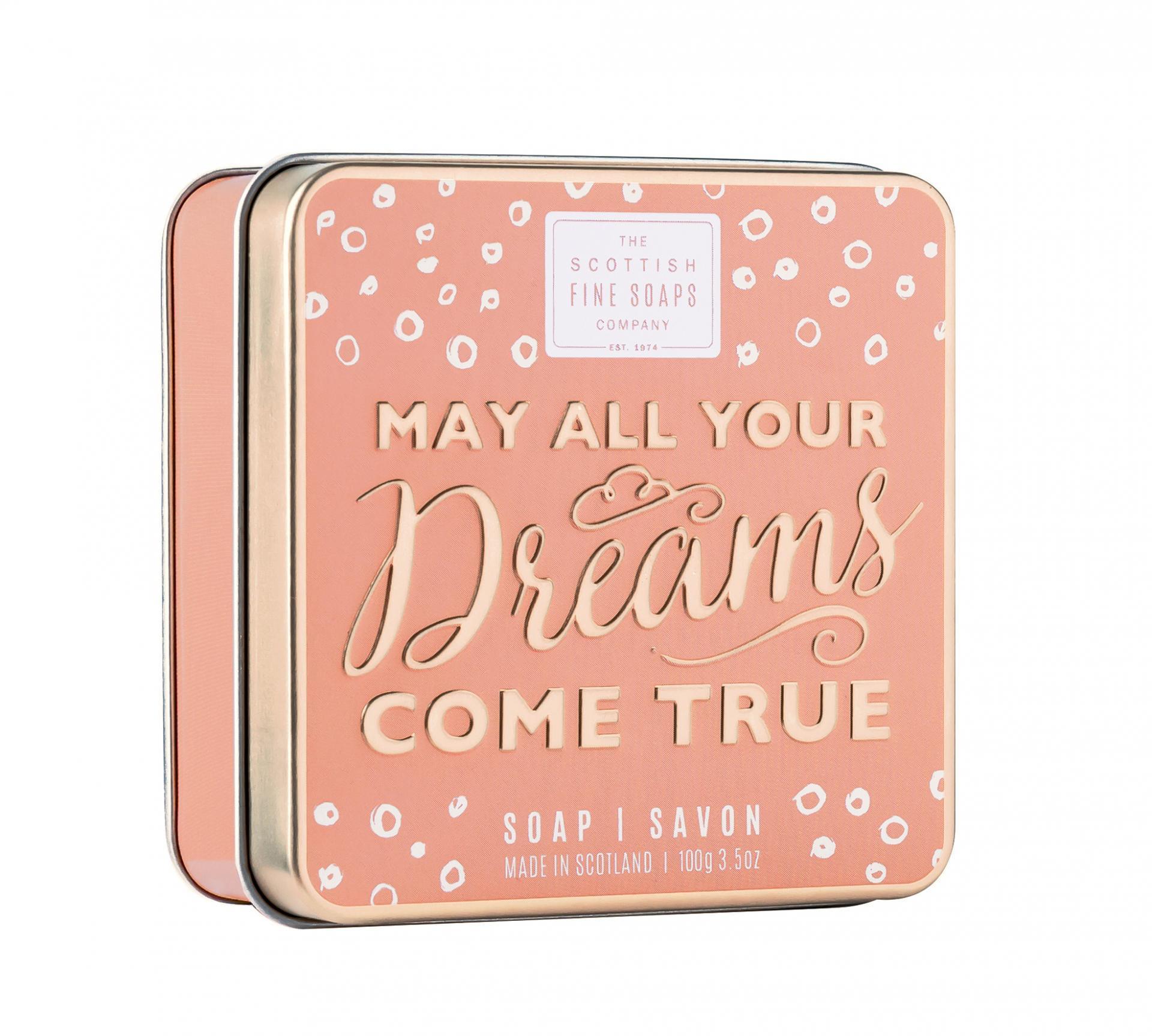 SCOTTISH FINE SOAPS Mýdlo v plechové krabičce Dreams come true, zlatá barva, kov