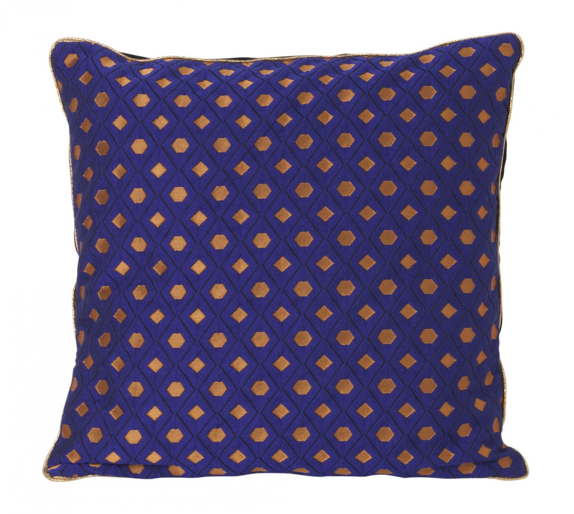 ferm LIVING Péřový polštář Salon Cushion 40x40 cm, modrá barva, měděná barva, textil