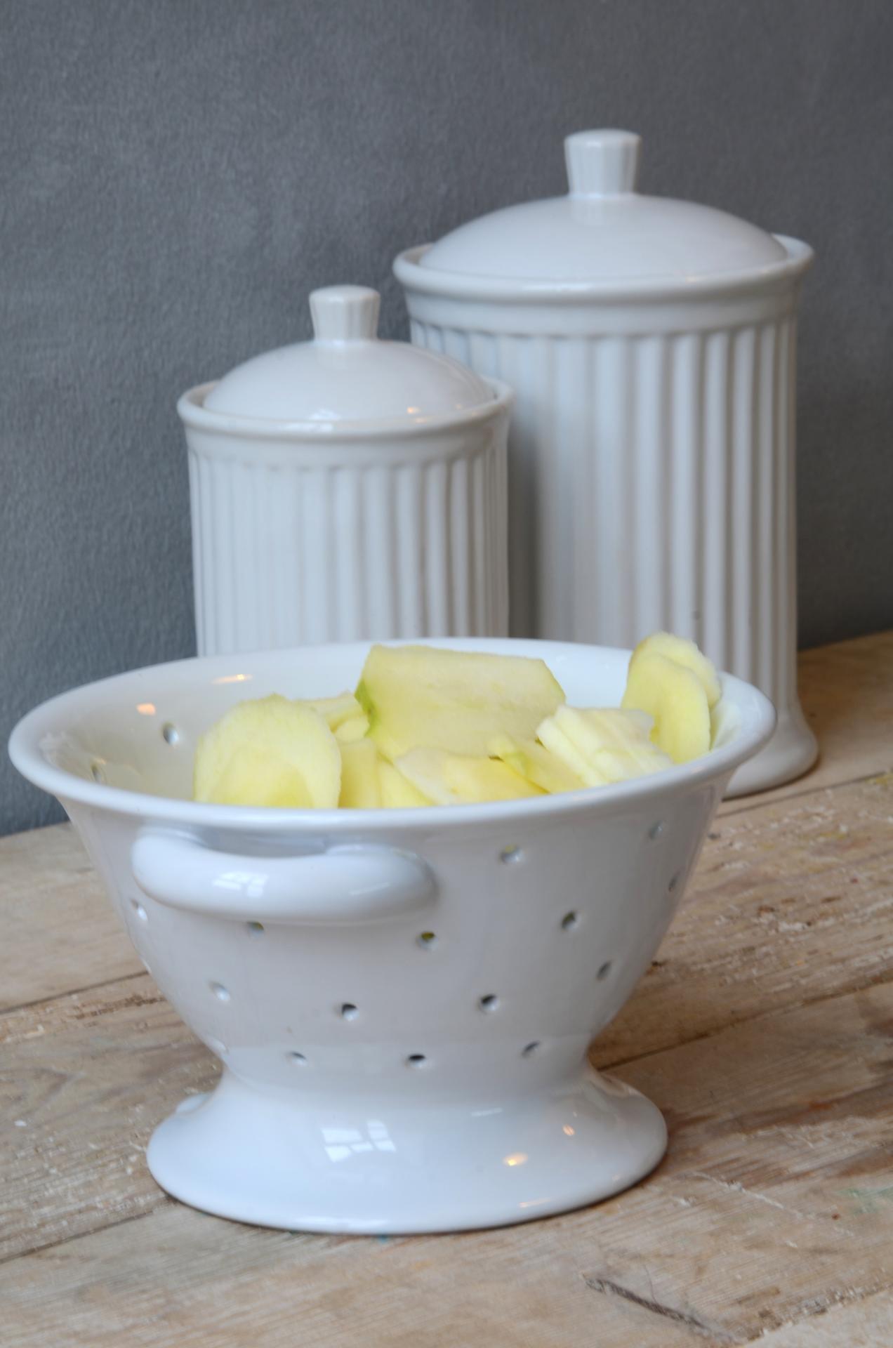 IB LAURSEN Keramický cedník Mynte white, bílá barva, keramika