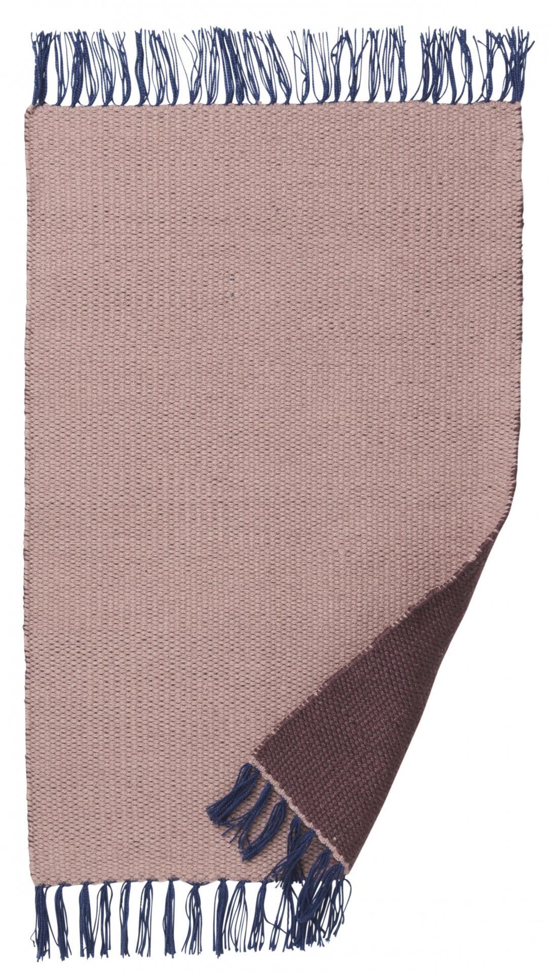 ferm LIVING Koberec Nomad Rose 90x60 cm, růžová barva, modrá barva, hnědá barva, textil