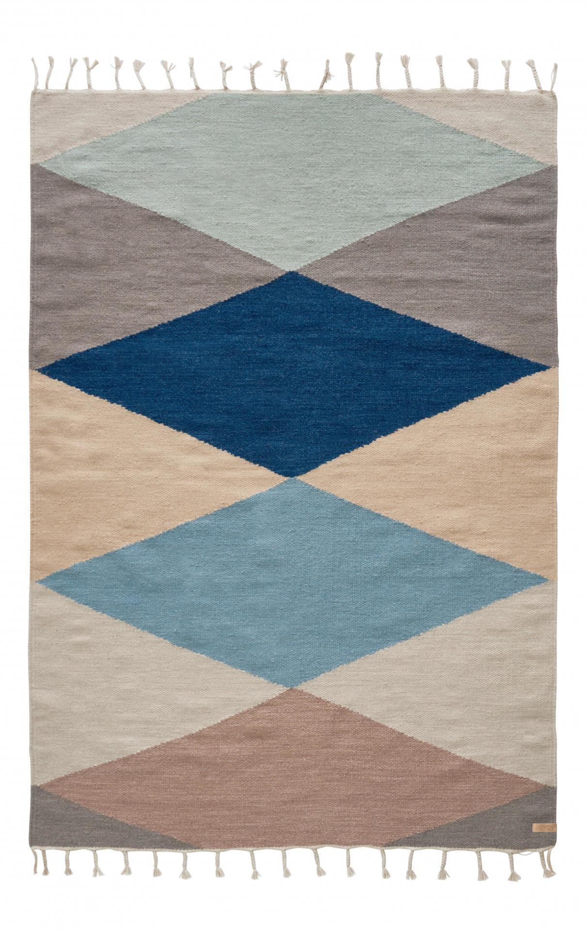OYOY Vlněný koberec Hip 170x120 cm, modrá barva, béžová barva, šedá barva, multi barva, krémová barva, textil
