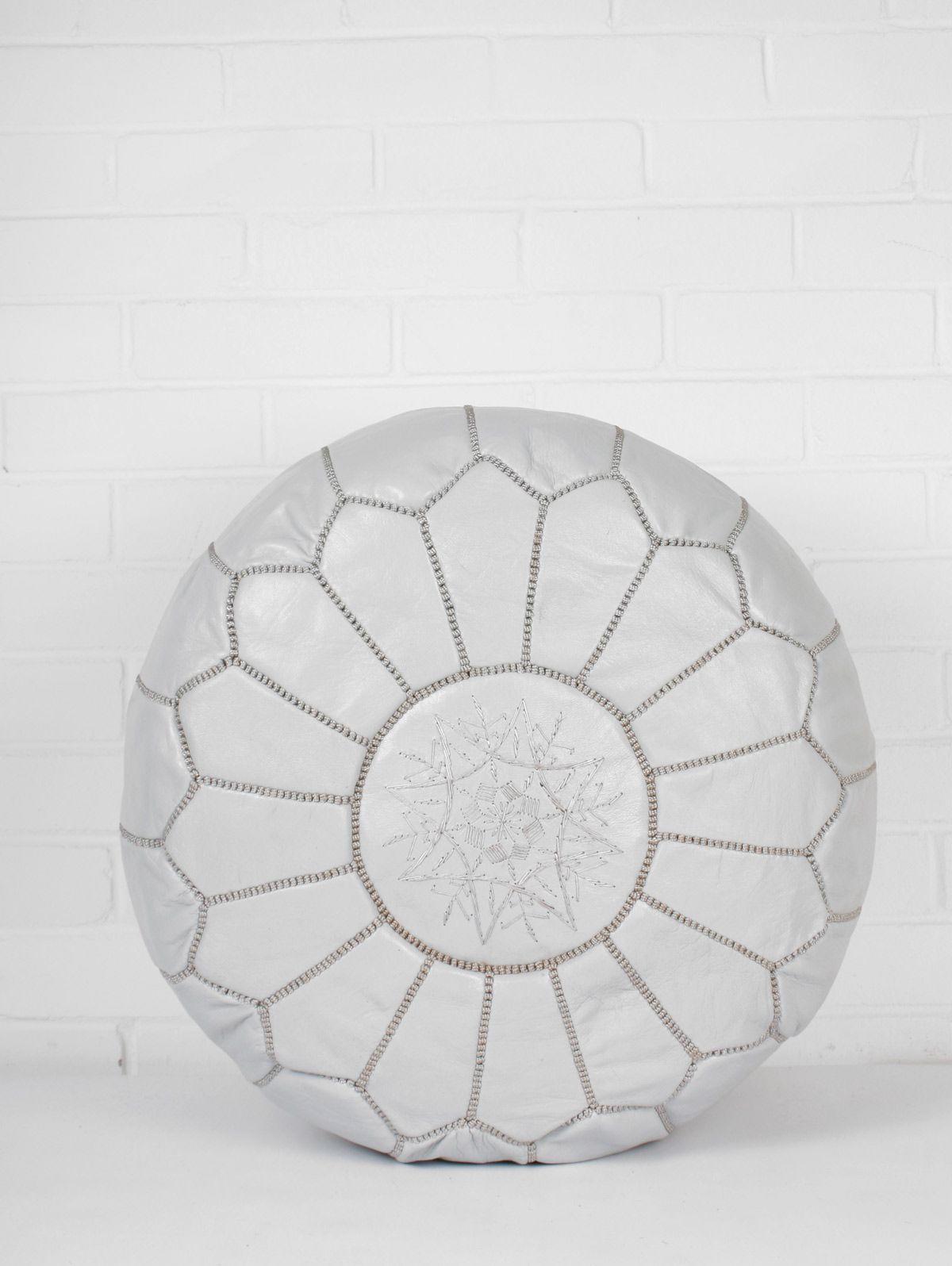 SKOuRA Marocký kožený taburet Grey, šedá barva, kůže